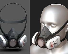Gas mask helmet scifi futuristic mask protection 3D model