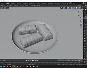 3D model torn bread