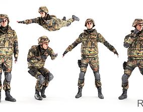 3D asset Rigged soldier in Bundeswehr military uniform