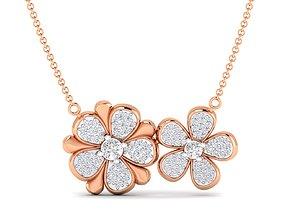 Women flower necklace pendant 3dm stl render detail