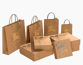 Burberry Gift Packaging Boxes and Paper Bags 3D
