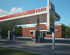 ESSO gas station 001 3D