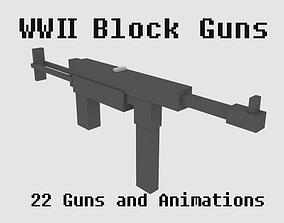 3D asset Block Guns WW2 Animated