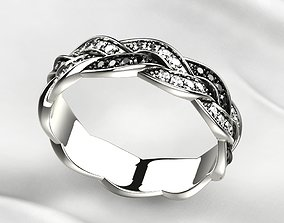 Black Rhodium Gold Ring with Diamonds 3D printable model