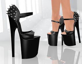 realtime Platform High Studded Heels - Low Poly 3D model