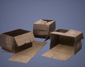 Paper Box Set Low Poly Game Ready 3D model