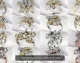 3D model Luxury Flower Design Rings Collection