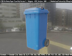 3D model Plastic Garbage Can 120L Blue for Waste Paper 1