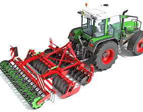 Tractor with Disc Harrow 3D sowing