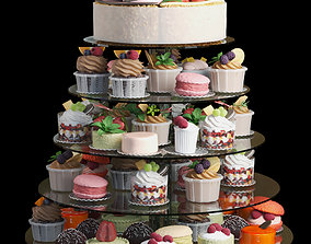 Set of desserts and cakes 3D