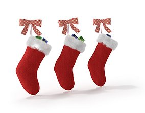 3D model Red Christmas Stockings