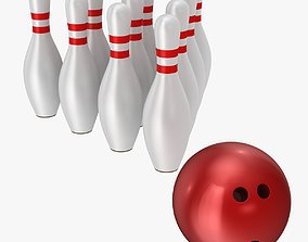 Bowling Ball and Pins 3D asset game-ready