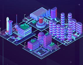 3D asset Cartoon Low Poly Sci-Fi Space City Pack
