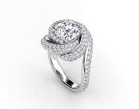 ZLR0178 engagement ring 3D print model
