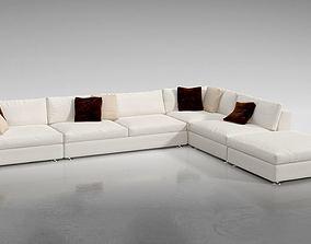 3D White L Shaped Sofa
