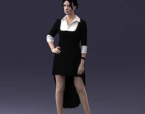 Fashionable girl in black dress 0219 3D Print Ready