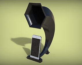 Passive Speaker with gramophone 3D printable model 2