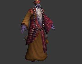 Buddhist monk 3D asset low-poly