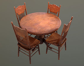 DVB - Wooden Table And Chairs - PBR Game Ready 3D model