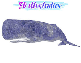 3D asset Low Poly Sperm Whale Illustration Animted - Game