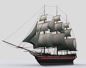 3D model Sailing warship corvette