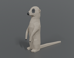 Low Poly Cartoon Meerkat 3D model