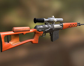 SVD sniper rifle with PSO-1 3D model