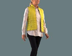 Low poly set of 3D women walking 3D model