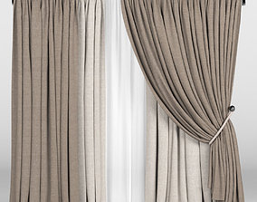 3D model Brown curtains in two shades with a garter on a 2