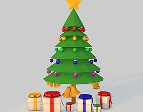 3D model Low poly Christmas Tree with Balls Bells and Gift