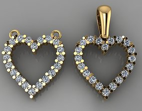 Dainty Diamond Heart Pendant Mix Design 3D printable model