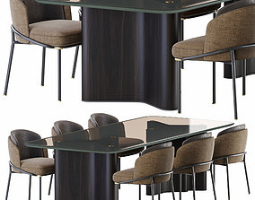 3D model Minotti lou dining table end chair fil noir