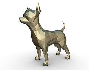 Chihuahua figure low poly 3D printable model