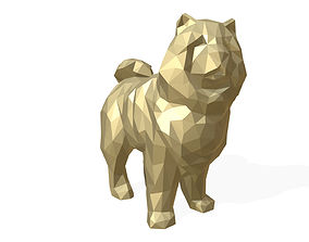 Chowchow dog figure low poly 3D printable model