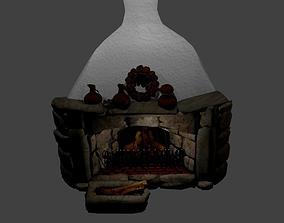 Fairy tale fireplace 3D asset
