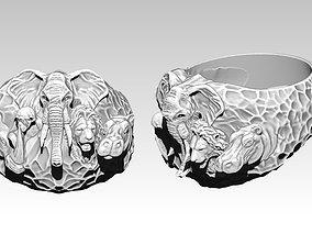 3D printable model Safari Animal Ring Monkey Rhinoceros 2