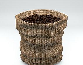 3D asset Coffee Burlap Hessian Fabric Bag with Coffee 1