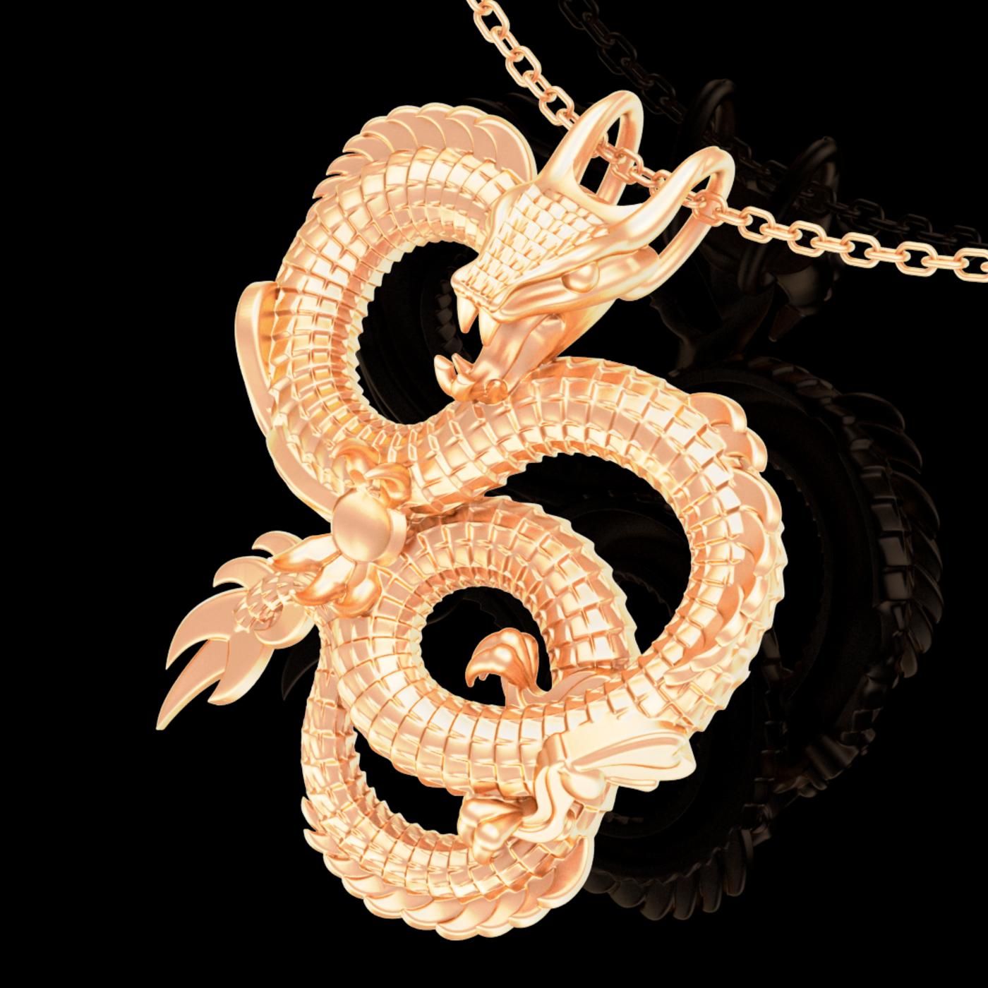 Dragon Pendant jewelry Gold 3D print model