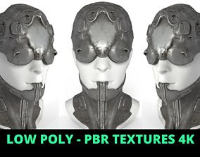 3D asset VR / AR ready Cyberpunk Robot Mecha Mask