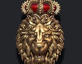 Lion pendant with crown new 3D printable model