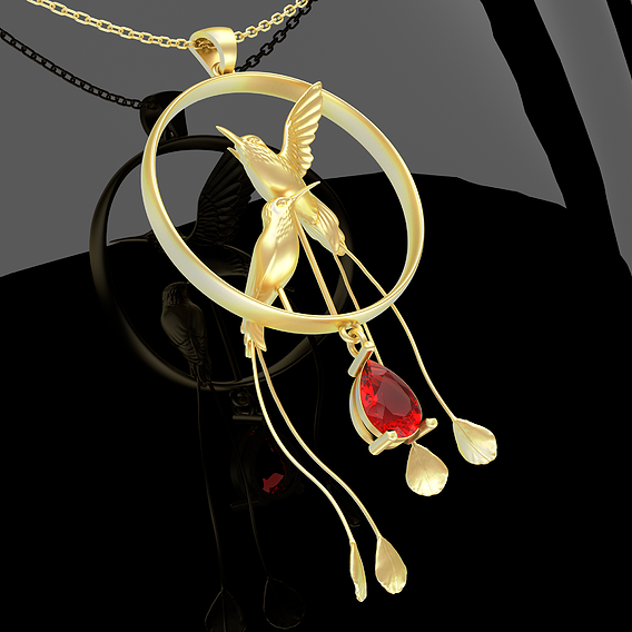Hummingbird Pendant Jewelry Gold 3D print model