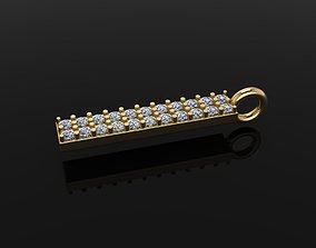 3D print model DAINTY LONG VERTICAL DIAMOND BAR PENDANT