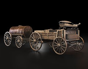 3D asset Wild Western Stagecoach and Wagon