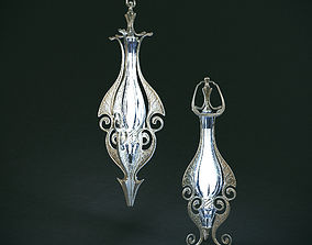 Set of two elven lamps hanging and portable 3D model