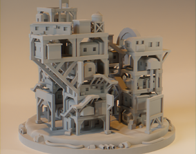low-poly Cyberpunk City Ready Player One for 3D printing
