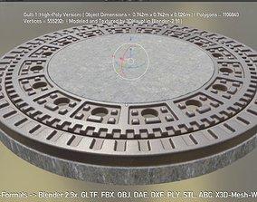3D animated Manhole 1 High-Poly Version