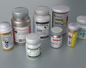 Pill Bottle Collection 3D asset