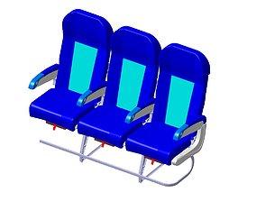 3D model Detailed Triple Seat