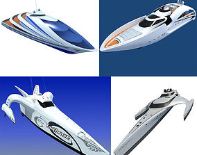 3D Collection of 4 Luxury Yachts