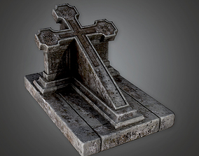 3D asset Grave Stone Cemetery 14 CEM - PBR Game Ready